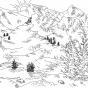 Pine Trees & Mountains Lineart
