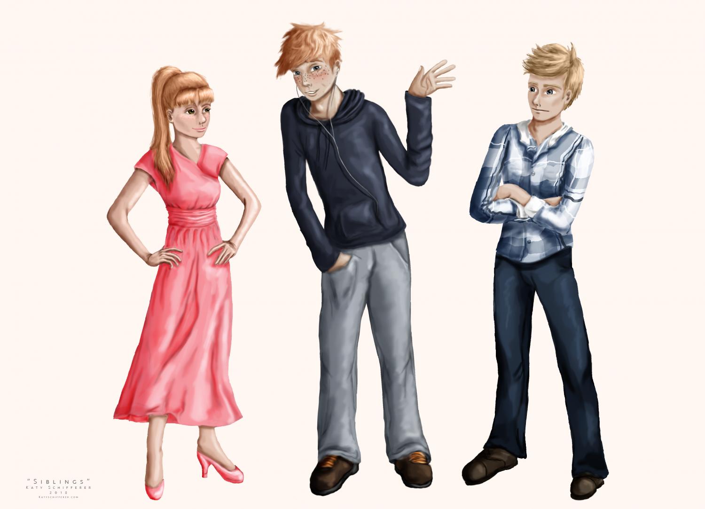 """Siblings"" Digital Illustration, by Katy Schifferer"