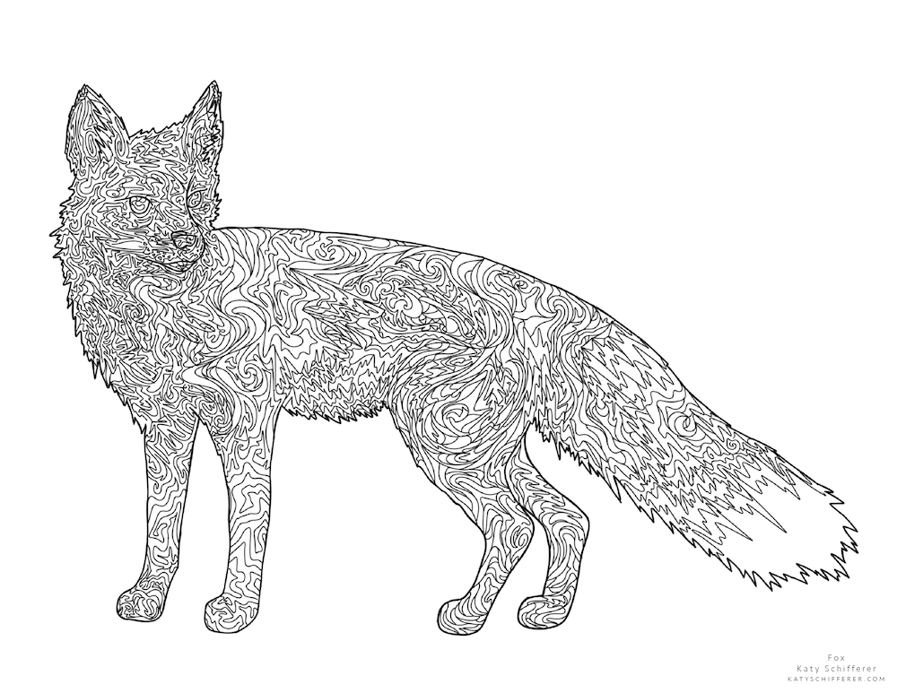 Fox Zentangle by Katy Schifferer
