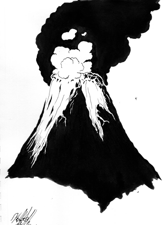 #Inktober #Inktober2018 Day 10: Flowing. Erupting volcano.