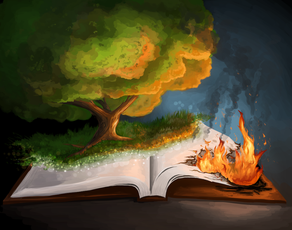 Burning Book illustration